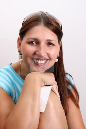 Adult Model stock photo, Adult Female Model wearing a blue striped top by Vanessa Van Rensburg