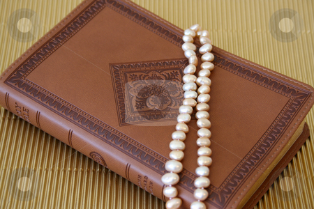 Pearls on leather stock photo, Pearls on a leather bound cover with patterns by Vanessa Van Rensburg
