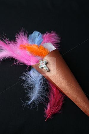 Feather Confetti stock photo, Brightly colored feather confetti in a cone by Vanessa Van Rensburg