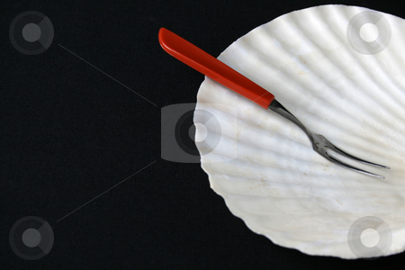Speciality Dish stock photo, Special small fork and shell plate for seafood starters by Vanessa Van Rensburg