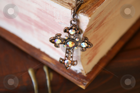 Close up of Cross stock photo, Close up of cross in the form of Jewellery on a wooden Jewellery box by Vanessa Van Rensburg