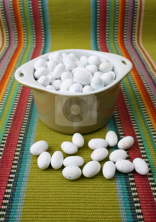 Easter Eggs stock photo, Miniature speckled easter eggs in a green bowl by Vanessa Van Rensburg