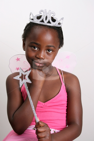 Pink Fairy stock photo, Young girl wearing a pink fairy costume with accessories by Vanessa Van Rensburg