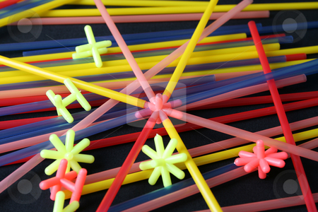 Educational Toys stock photo, Straws and shapes, educational toys in bright colors by Vanessa Van Rensburg