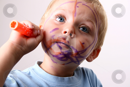 Orange Pen stock photo, Laughing Toddler playing with colored pens making a mess by Vanessa Van Rensburg