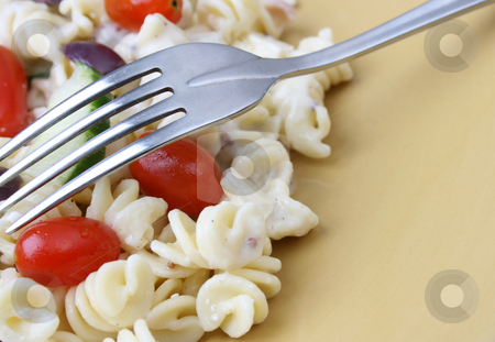 Pasta Salad stock photo, Cold Pasta Salad with tomatoes, cucumbers and olives by Vanessa Van Rensburg