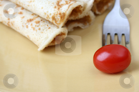 Barbeque Chicken Pancakes stock photo, Barbeque Chicken Pancakes with a single tomato by Vanessa Van Rensburg