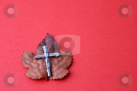Autumn Leaf stock photo, Autumn leaf with a silver cross on a red background