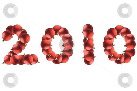 New year. stock photo, New year made by red Christmas balls over white. by Liana Bukhtyyarova