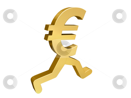 Euro Running Past stock photo, A gold Euro symbol with legs running past the viewer. by Mark Carrel