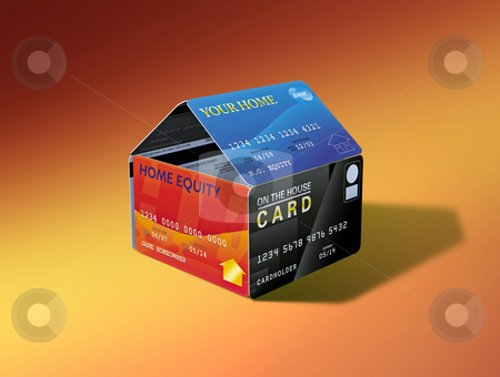 Home Equity House of Cards stock photo, House built out of equity-linked debit cards by Mark Carrel