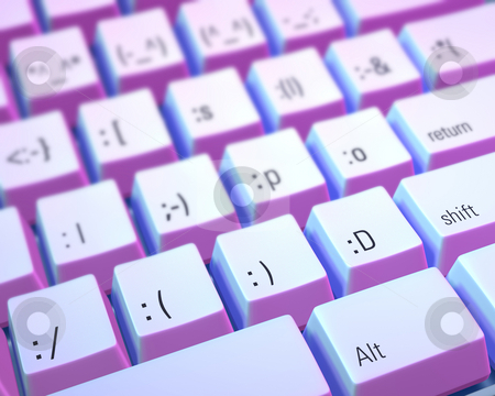 Emoticon Keyboard stock photo, Close up of a keyboard with keys marked with emoticons instead of letters. Image as a narrow depth of field and is lit with blue and purple gels. by Mark Carrel