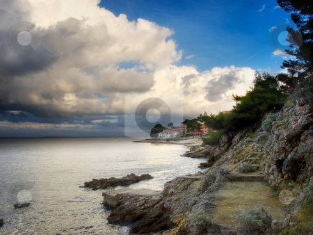 Stormy coast stock photo, Scene after the storm somewhere on the island of Losinj, Croatia. by Sinisa Botas