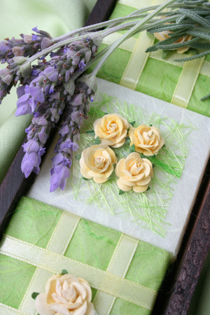 Soap Crate stock photo, Soap Crate gift set wrapped in green, decorated with roses by Vanessa Van Rensburg