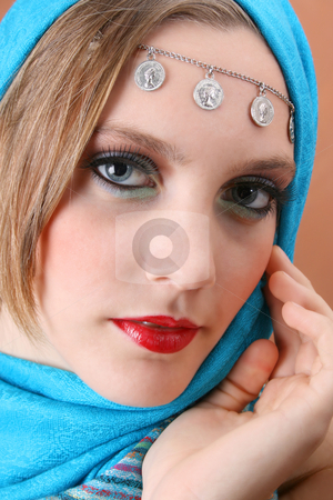 Folk Dress stock photo, Female model with blue eyes wearing traditional folk dress by Vanessa Van Rensburg