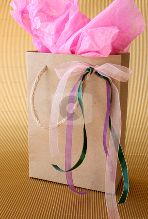 Gifts Bag stock photo, Brown gift box with ribbons and pink tissue paper by Vanessa Van Rensburg