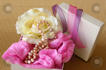 Jewellery Gift Box stock photo, Gift Box with Jewellery and cream rose by Vanessa Van Rensburg