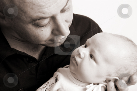 Father and Son stock photo, Father and Baby boy on a white background by Vanessa Van Rensburg
