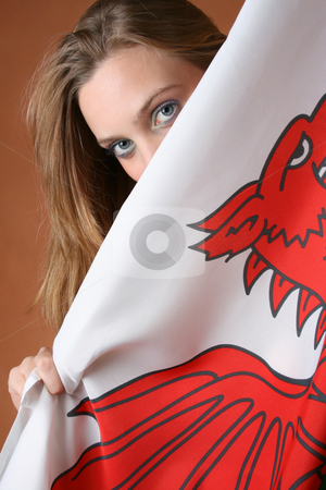 Wales stock photo, Beautiful young female model with a Welsh Flag by Vanessa Van Rensburg