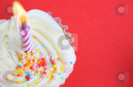Cup Cakes stock photo, Vanilla Cupcake with sprinkles and one candle by Vanessa Van Rensburg