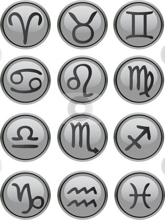 Zodiac Icon Set stock vector clipart, Zodiac Icon Set vector grey by Vadim Pats