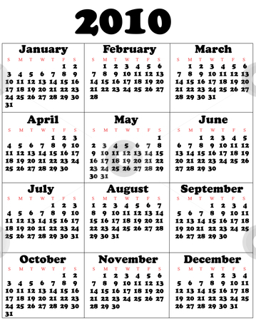 Calendar for 2010 stock vector clipart, Calendar for 2010 by Vadim Pats