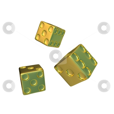 Gold dice stock photo, Dice represent many espect from business to games by HII CHANG LING