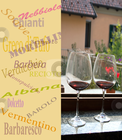 Menu with names of italian wines and two glasses of red wine stock photo, Menu with names of italian wines and two glasses of red wine by Fabio Alcini