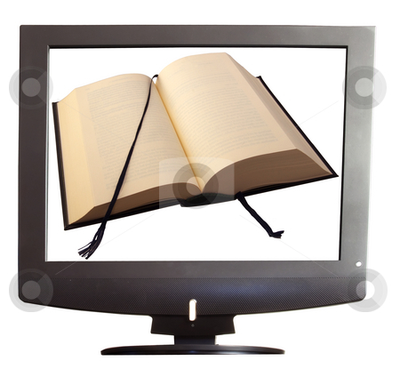 Book on tv stock photo, An open book within a tv screen over white background by Fabio Alcini