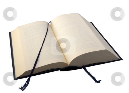 Book stock photo, An open book with bookmarks over white background by Fabio Alcini