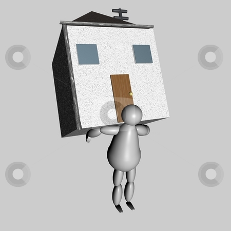 3D puppet bringing house on his back stock photo, 3D puppet bringing house on his back by Fabio Alcini