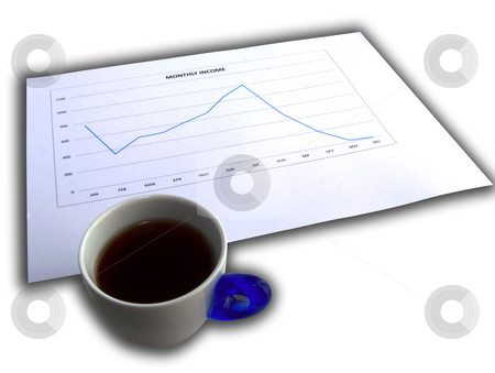 Bad news in the morning stock photo, Cup of coffee near a decreasing graphic over white with shadows by Fabio Alcini