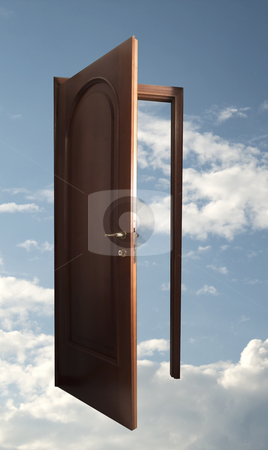 Open door in the sky stock photo, Open wooden door in a blue sky with clouds by Fabio Alcini