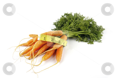 Bunch of Carrots with Tape Measure stock photo, Fresh young bunch of carrots with green leafy stems and tape measure on a reflective white background by Keith Wilson