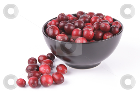 Cranberries in a Black Bowl stock photo, Red ripe cranberries in a small round black bowl with a few scattered on the surface with a reflective white background by Keith Wilson