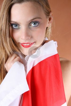 English Rose stock photo, Beautiful young female model with the English Flag by Vanessa Van Rensburg