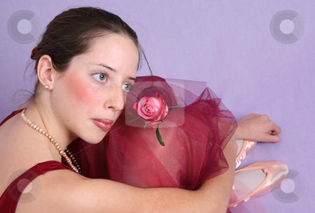 Ballet Girl stock photo, Teenage ballet dancer in a burgundy costume by Vanessa Van Rensburg