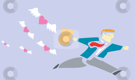 Running from love stock vector clipart, Business man running from a flock of hearts. by Jeffrey Thompson