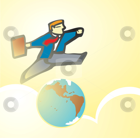 Leaping  stock vector clipart, Man Leaping over an image of the earth. by Jeffrey Thompson