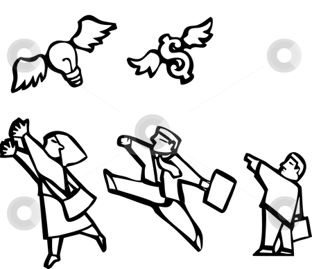 Busniess Group stock vector clipart, Group of black and white business illustration images. by Jeffrey Thompson