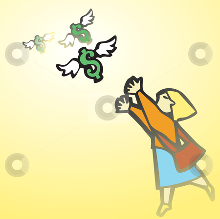 Woman Chasing Money stock vector clipart, Business woman chases winged money that is escaping. by Jeffrey Thompson