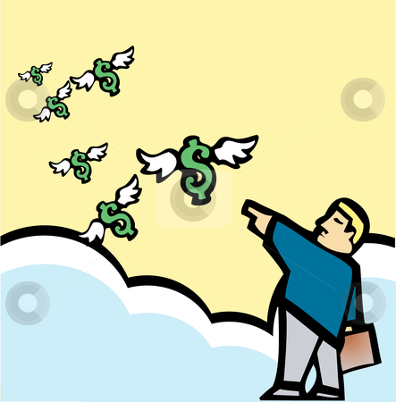 Sending Money Off stock vector clipart, Businessman dispatching money into the sky. by Jeffrey Thompson