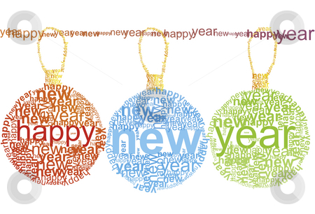 Happy New Year typographic stock photo, Happy New Year - typographic illustration by Mile Atanasov