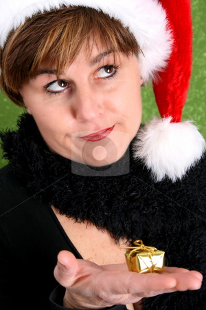 Christmas Lady stock photo, Mature lady wearing a christmas hat holding a small gift by Vanessa Van Rensburg
