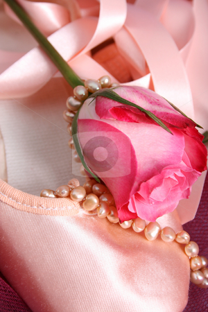 Ballet Pearls stock photo, Satin Ballet shoe with a pink rose and pearls by Vanessa Van Rensburg