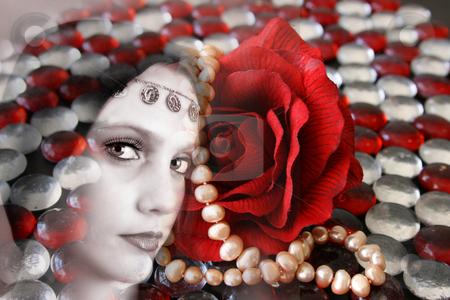 Folk Dress stock photo, Female model withwearing folk dress layered with pebbles and jewelery by Vanessa Van Rensburg