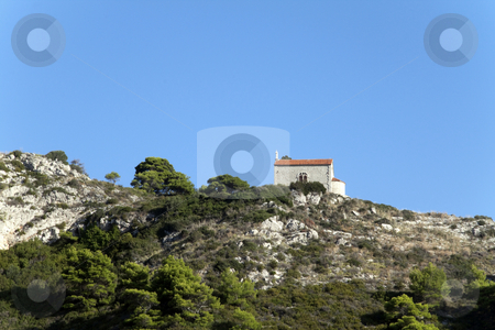 Hillside Church stock photo, A lone church on the mountain side above Dubrovnik,Croatia by Kevin Tietz