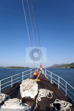 Ship Bow stock photo, The bow of a ship with a blue sky beyond by Kevin Tietz