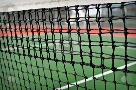 Tennis Court stock photo, Side Angle of a Green and Red Tennis Court by Brandon Bourdages