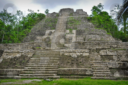 Mayan Temple stock photo, Mayan Temple Deep in the Central America Rain Forest by Brandon Bourdages